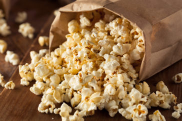 Movie nights and popcorn on a family movie night at home on weekends.